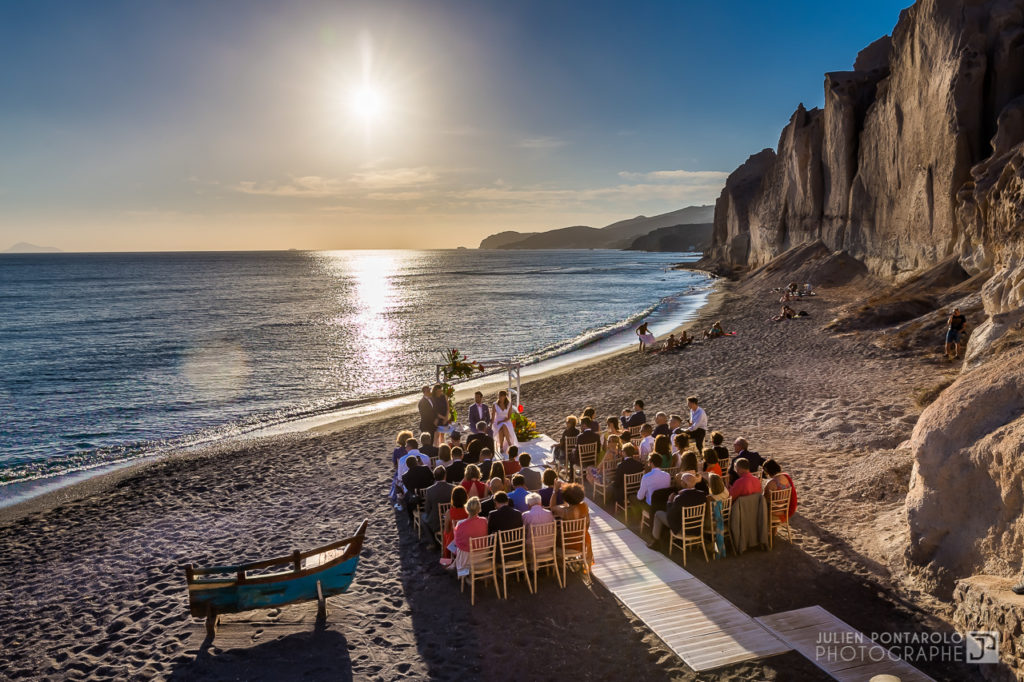a sunset beach wedding in Greece 31