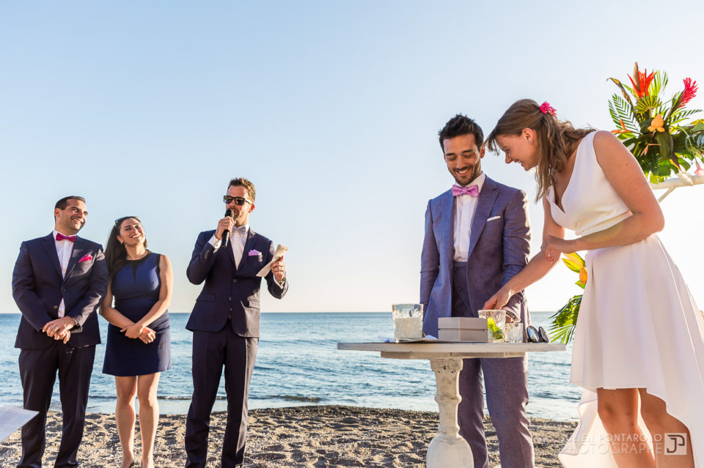 a sunset beach wedding in Greece 35