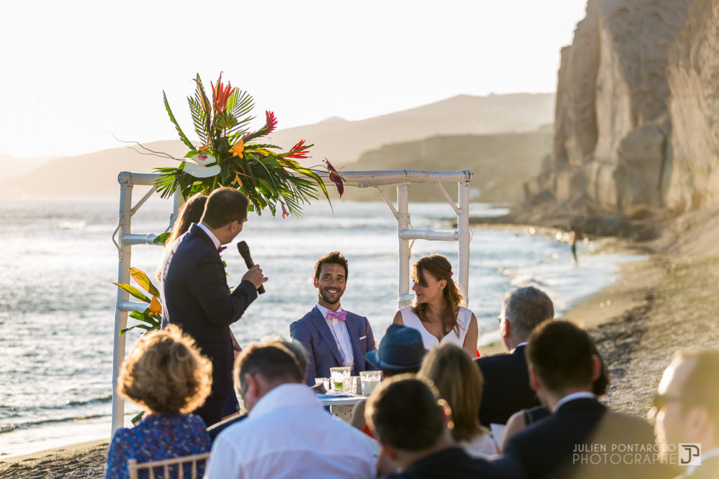 a sunset beach wedding in Greece 37