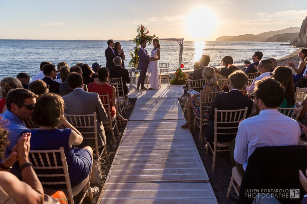 a sunset beach wedding in Greece 40