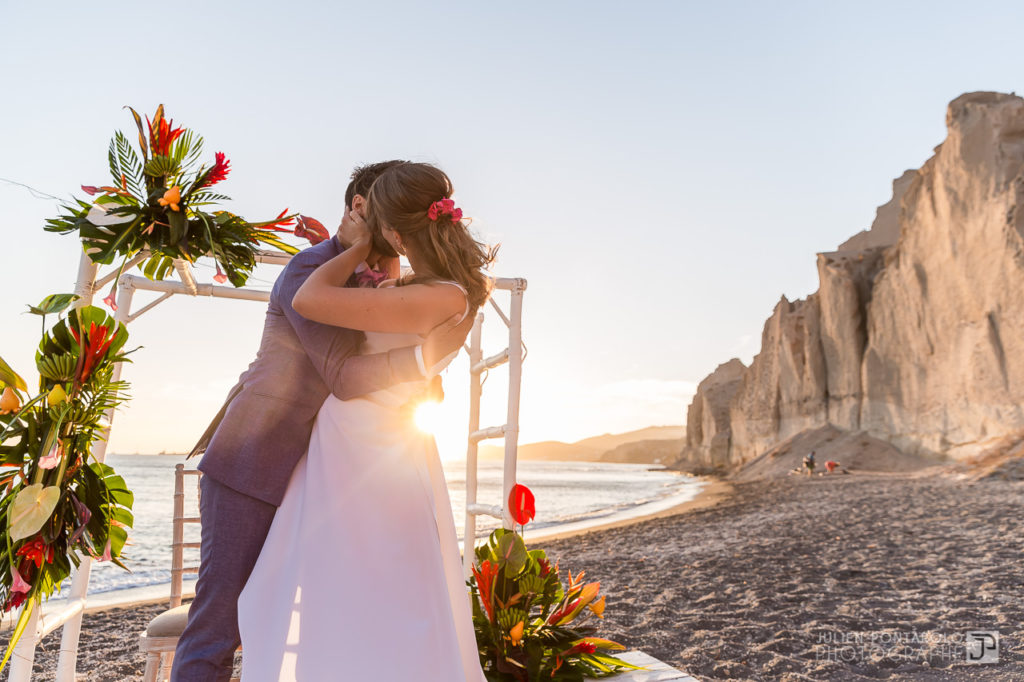 a sunset beach wedding in Greece 46